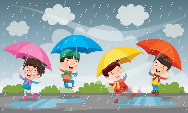 Crianças brincando sob a chuva no outono