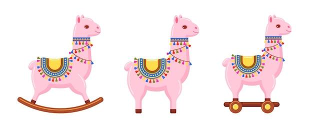 Crianças brinquedo lhama rosa para vários jogos infantis conjunto de ilustrações coloridas Vetor Premium