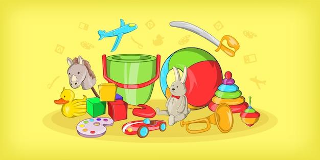Crianças brinquedos fundo horizontal, estilo cartoon