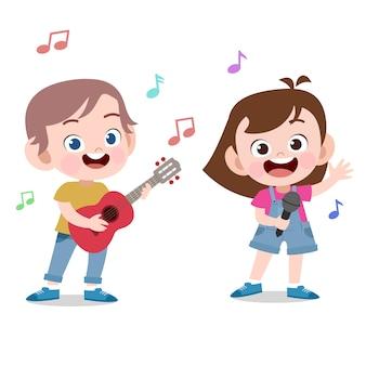 Crianças cantam jogar ilustração vetorial de guitarra