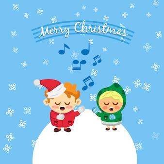 Crianças cantando canções de natal