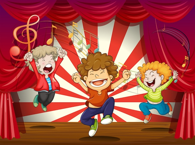 Crianças, cantando, em, a, fase