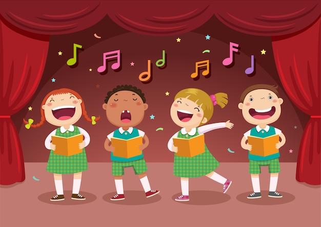Crianças cantando no palco
