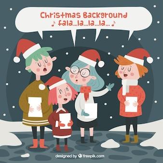 Crianças cantando uma canção de natal