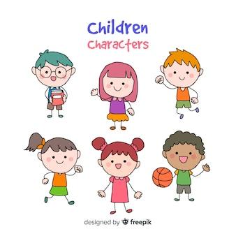 Crianças, caricatura, personagem, cobrança