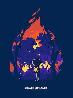 Crianças carregam sementes de árvores em uma floresta em chamas