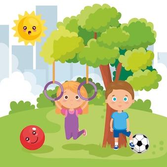 Crianças casal brincando no parque