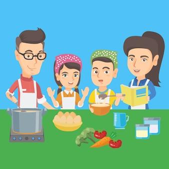 Crianças caucasianas cozinhando com os pais.