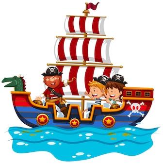 Crianças cavalgando em um navio viking no mar