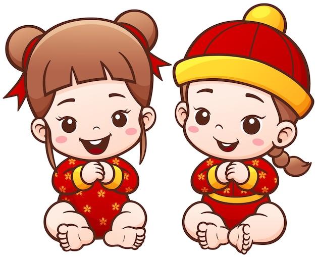 Crianças chinesas dos desenhos animados