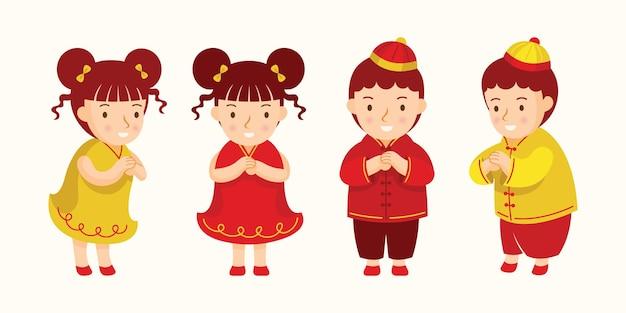 Crianças chinesas em roupas tradicionais cumprimentando ou prestando atenção aos personagens
