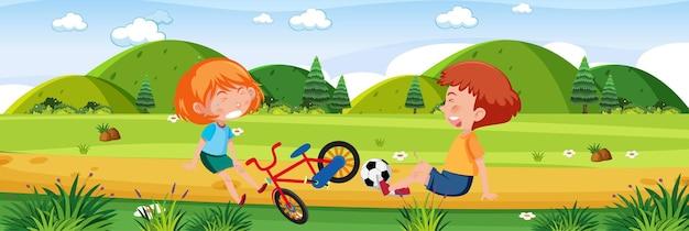 Crianças chorando em cena ao ar livre