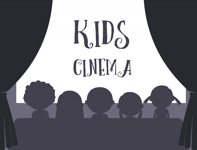 Crianças, cinema, ilustração