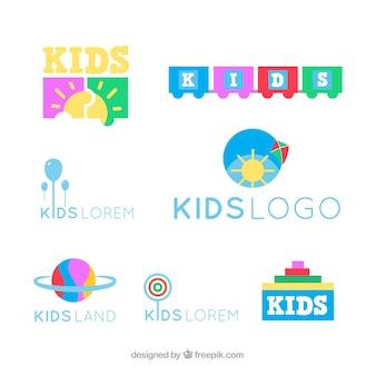 Crianças coloridas coleção logotipo