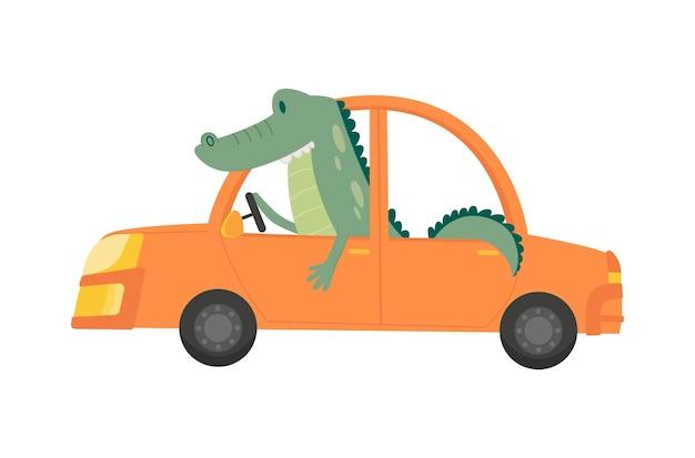 Crianças coloridas transportam com crocodilo bonitinho.