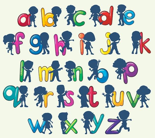 Crianças com alfabetos ingleses