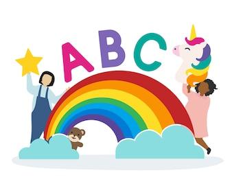Crianças com as letras abc