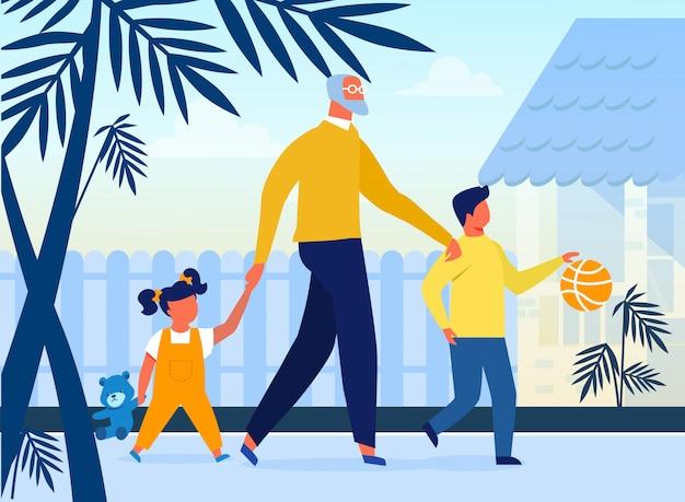 Crianças, com, avô, planas, vetorial, ilustração