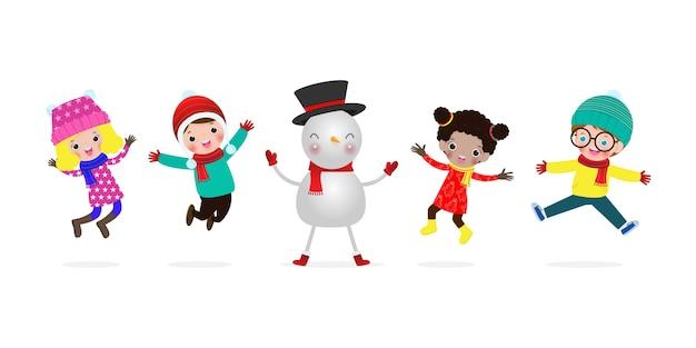 Crianças com boneco de neve com feliz natal e feliz ano novo