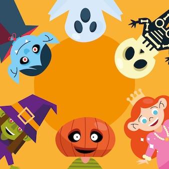 Crianças com cartão de pano de halloween