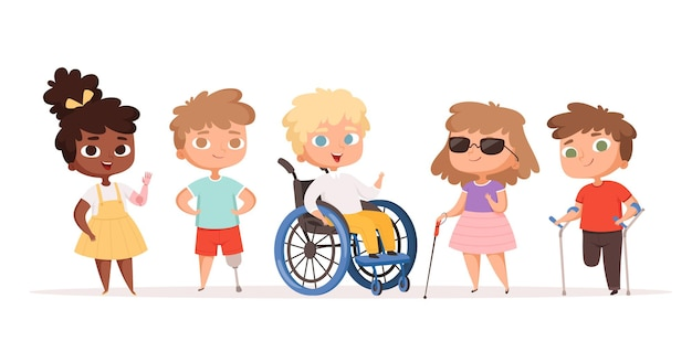Crianças com deficiência. crianças em cadeiras de rodas pessoas insalubres pessoas deficientes.