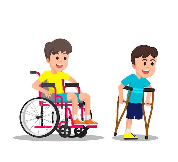 Crianças com deficiência que usam cadeira de rodas e muletas