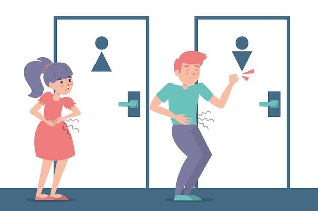 Crianças com diarréia esperando na porta do banheiro