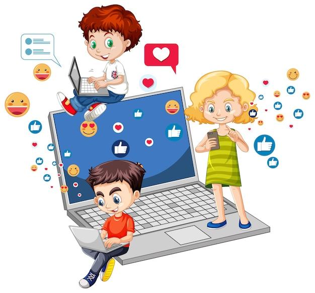 Crianças com elementos de mídia social em fundo branco