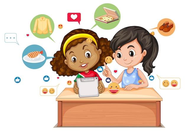 Crianças com elementos de mídia social