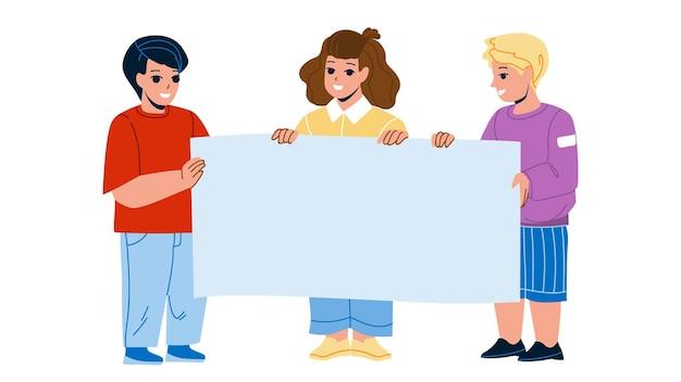 Crianças com em branco anuncie cartaz juntos vector. meninos e crianças raparigas que prendem o papel de cartaz de publicidade. personagens infantis com banner promocional ilustração plana dos desenhos animados
