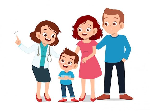 Crianças com exame médico dos pais