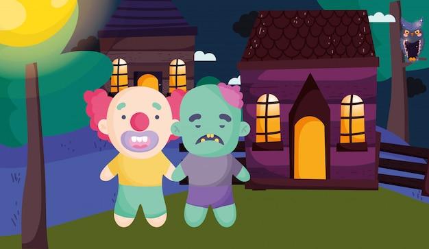 Crianças com fantasia de halloween