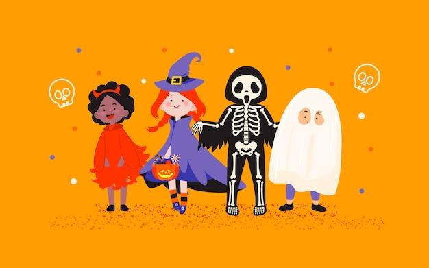 Crianças com fantasias de halloween, festa em ilustração de fundo laranja