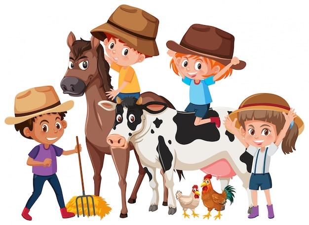 Crianças, com, fazenda, animais