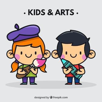 Crianças com ferramentas artísticas