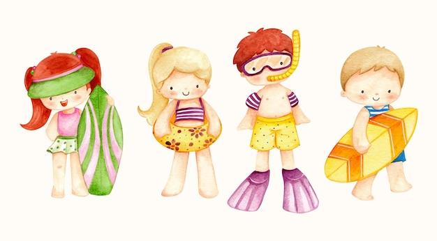 Crianças com ilustração em aquarela de elementos de verão
