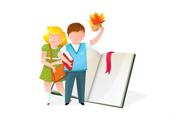 Crianças com ilustração plana de livro didático