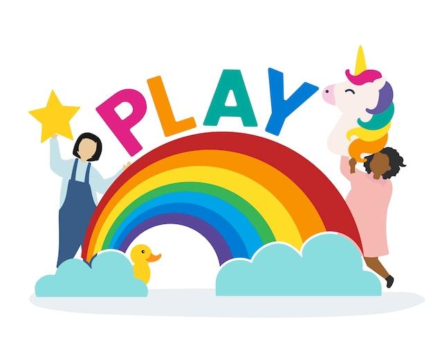 Crianças com imaginação e fantasia Vetor grátis