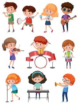 Crianças, com, instrumento música