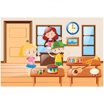 Crianças com instrumentos de música