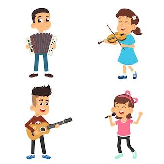 Crianças com instrumentos musicais tocam e cantam.