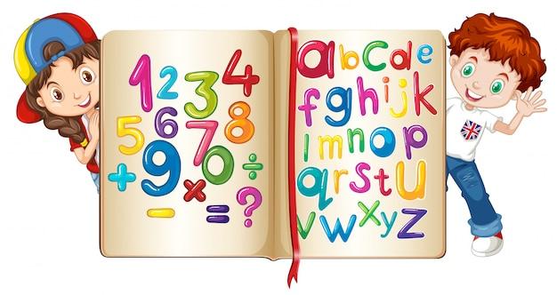 Crianças, com, livro números, e, alfabetos