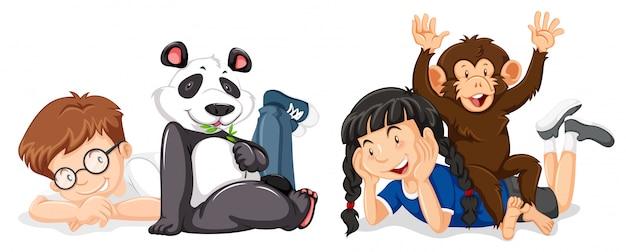 Crianças, com, macaco, e, panda