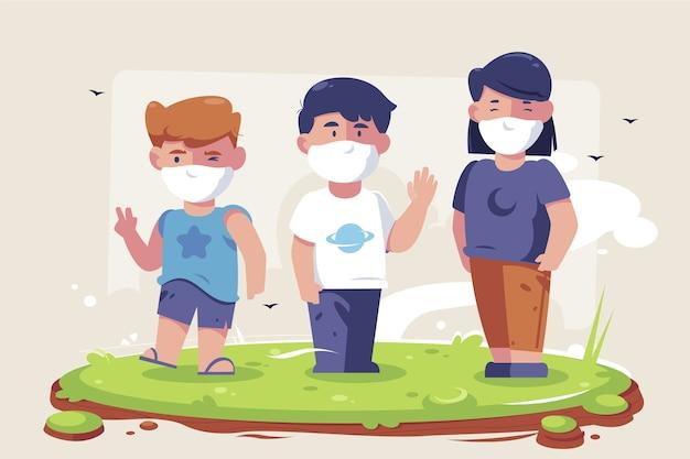 Crianças com máscaras médicas brincando
