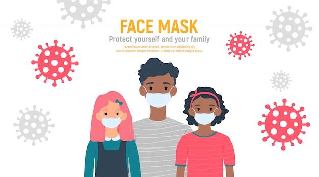 Crianças com máscaras médicas nos rostos para proteger contra o coronavírus covid-19, 2019-ncov isolado no fundo branco. conceito de proteção de vírus de crianças. fique seguro. ilustração
