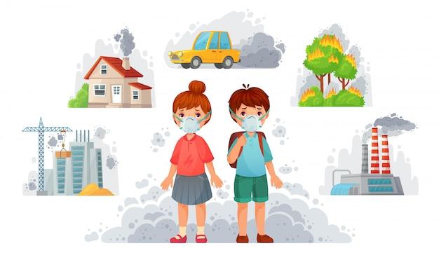 Crianças com máscaras n95. proteção ambiental suja, máscara facial protege da fumaça da rua e pm2. 5 ilustração