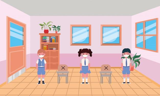 Crianças com máscaras na sala de aula