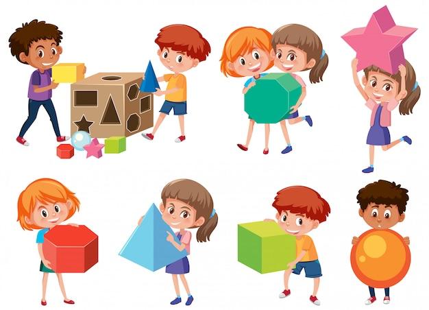 Crianças, com, matemática, forma