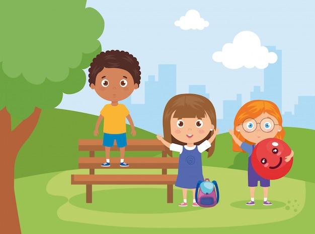 Crianças com material escolar na ilustração de cadeira de parque