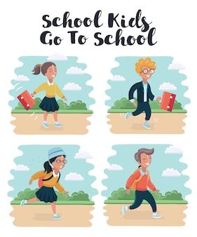 Crianças com mochila correndo para a escola